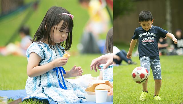 芝生にてお弁当やボール遊び